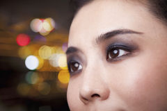 Smiling Young Woman with Smoky Eyes Close-Up Royalty Free Stock Photo