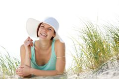 Smiling young woman with sun hat Royalty Free Stock Photos