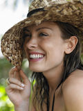Smiling Young Woman With Sun Hat Stock Image
