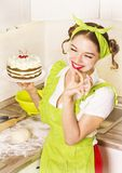 Smiling young woman with sweet cake desert Royalty Free Stock Photo