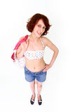 Smiling young woman in swimsuit with bag Royalty Free Stock Photos