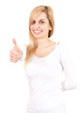 Smiling young woman with thumb up Royalty Free Stock Image