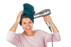 Woman before hair drying Stock Photos