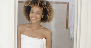 Smiling Young Woman In Towel Stock Photo