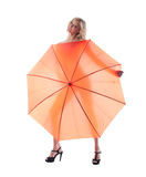 Smiling young woman with umbrella Royalty Free Stock Photo