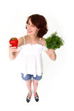 Smiling young woman with vegetables Stock Image