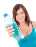 Smiling young woman with water Stock Photography