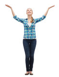Smiling young woman waving hands Stock Photography