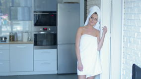 Smiling Young Woman Wearing Bath Towel Stock Image
