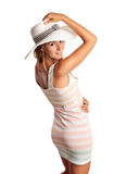 Smiling young woman wearing a hat Royalty Free Stock Images