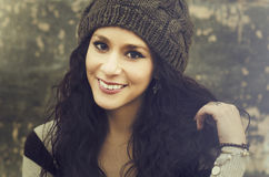 smiling young woman wearing hat Royalty Free Stock Images