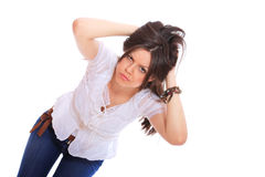 Smiling young woman wearing a white shirt Royalty Free Stock Image