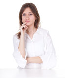 Smiling young woman in white blouse Stock Photo