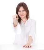 Smiling young woman in white blouse Stock Photography
