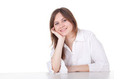 Smiling young woman in white blouse Stock Image
