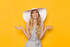 Smiling Young Woman In White Sun Hat Is Holding Hands Raised Stock Photos