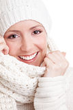Smiling young woman in winter Stock Photos