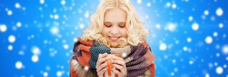 Smiling young woman in winter clothes with cup Stock Image