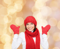 Smiling young woman in winter clothes Stock Images