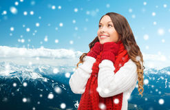 Smiling young woman in winter clothes Stock Photography