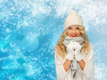 Smiling young woman in winter clothes Stock Image