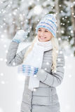 Smiling young woman in winter forest Stock Images