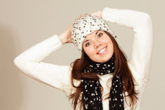 Smiling young woman in winter hat Stock Images