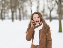 Smiling young woman in winter park talking cell phone Stock Photos