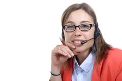 Smiling young woman working at office Stock Photo