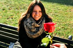Girl lovingly looking at the hand and a red rose. Smiling young women enjoying in the park and lovingly looking at the hand that gives her a red rose Stock Images