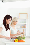 Smiling young Women preparing dinner Stock Photo