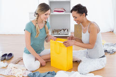 Smiling young women sitting on floor with shopping bag Stock Images