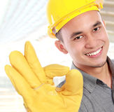 Smiling young worker royalty free stock photos