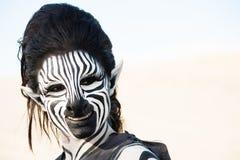 Smiling zebra woman Royalty Free Stock Photos
