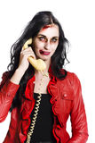 Zombie Woman on Telephone Stock Photo