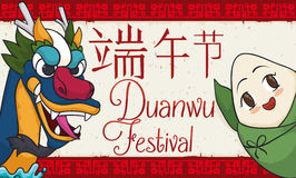 Smiling Zongzi and Dragon Saluting in Duanwu Festival Celebration, Vector Illustration Stock Photo