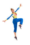 Smiling zumba instructor dancing. Young smiling female dancing zumba. Full length studio shot isolated on white Royalty Free Stock Photo