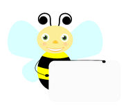 Smilling bee with banner. Cute little bee holding banner Stock Photo