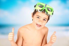Smilling boy  with diving mask. Happy and smilling child with diving mask Royalty Free Stock Photos