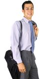 Smilling business man. With briefcase and jacket Stock Photo