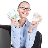 Smilling businesswoman  with euros in hands Royalty Free Stock Photo