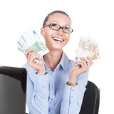 Smilling businesswoman  with euros in hands Stock Photo