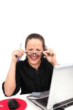 Smilling businesswoman with glasses in hands Royalty Free Stock Images