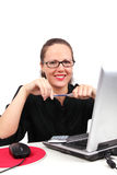 Smilling businesswoman with pen in hands Stock Photography