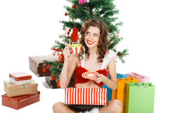 smilling christmas girl isolated on white background Stock Photography