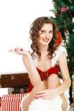 Smilling christmas girl isolated on white background Royalty Free Stock Photo