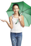 Smilling girl with green umbrella Royalty Free Stock Images