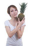 Smilling girl with pinaple showing ok Royalty Free Stock Photo
