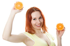 Smilling kvinna med frukt Royaltyfri Foto