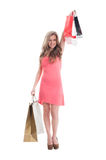Smilling lady shopper expressing joy Royalty Free Stock Photography